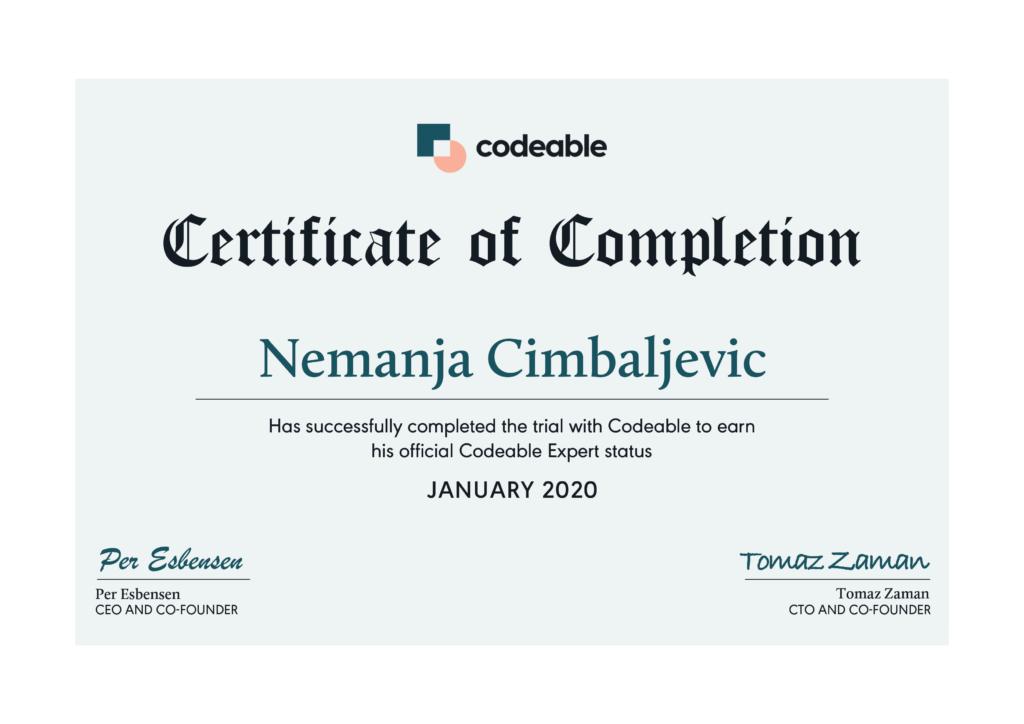 nemanja cimbaljevic codeable certificate